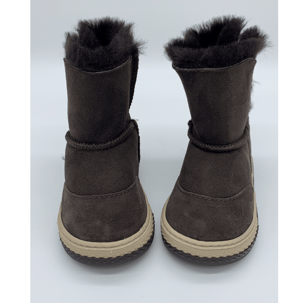 FIGO Sheepskin Boots for Kids - Brown, Suede