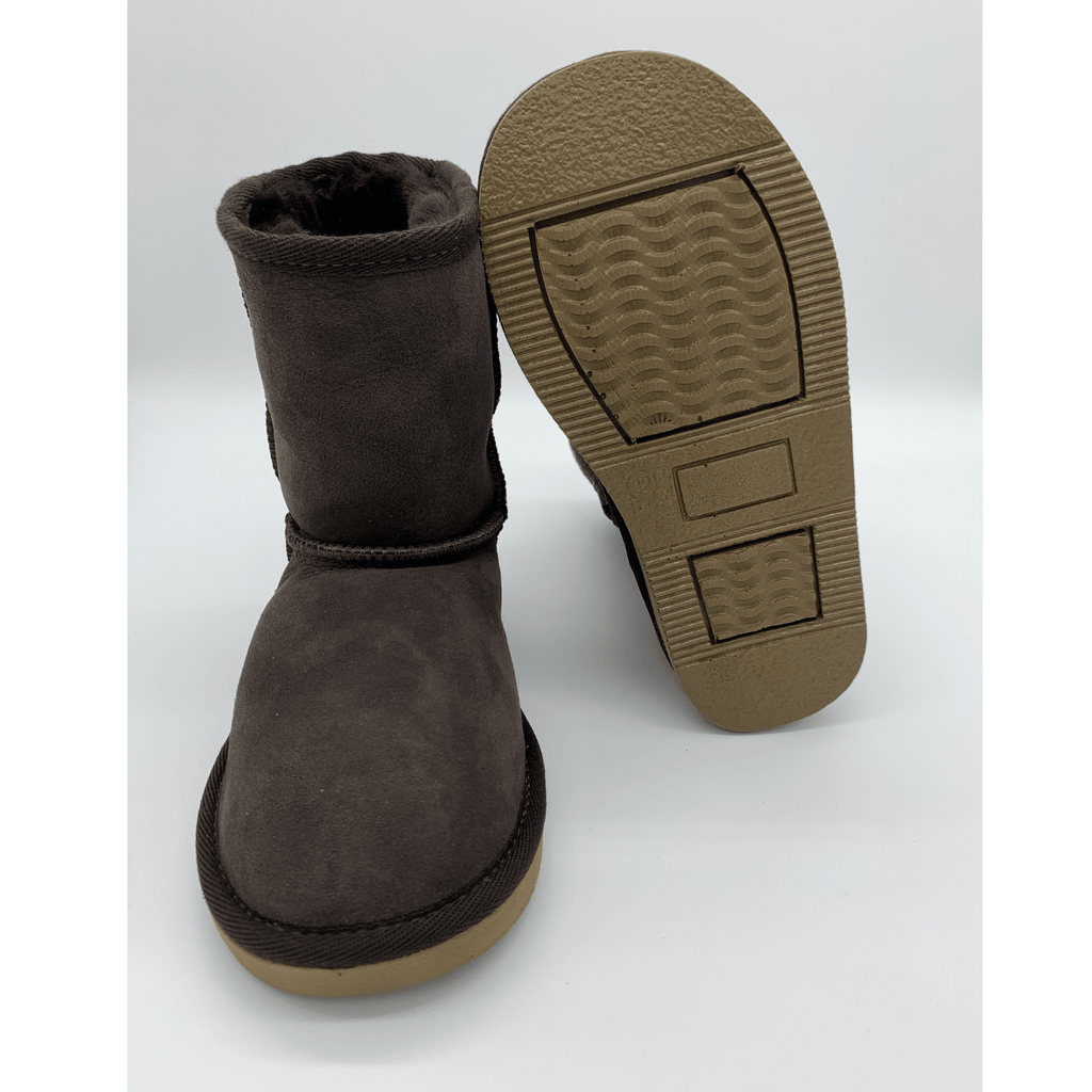 Classic Sheepskin Boots for Kids - Brown, Suede