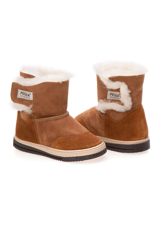 FIGO Sheepskin Boots for Kids - Camel, Suede