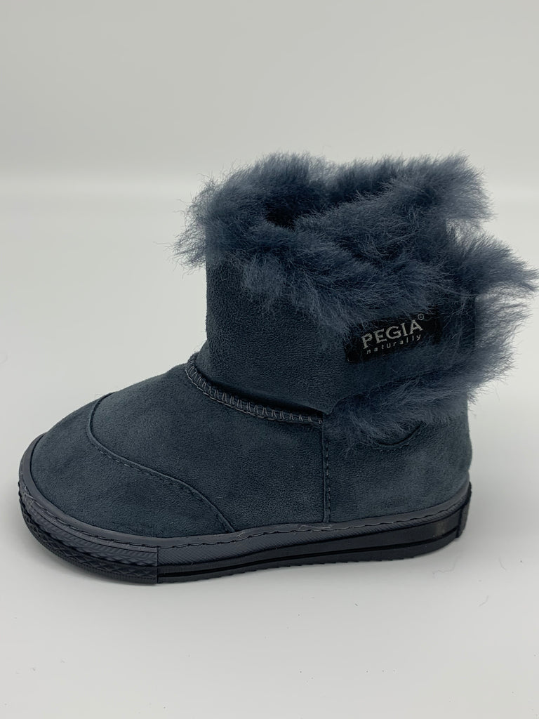 FIGO Sheepskin Boots for Kids - Navy, Suede