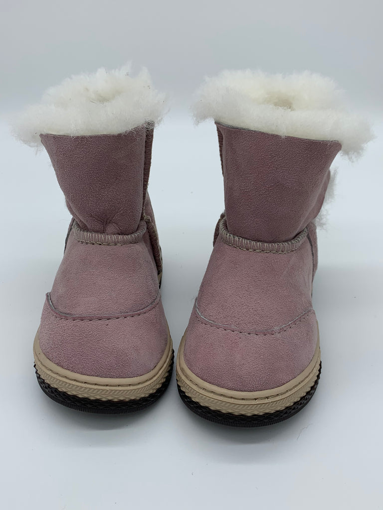 FIGO Sheepskin Boots for Kids - Pink, Suede