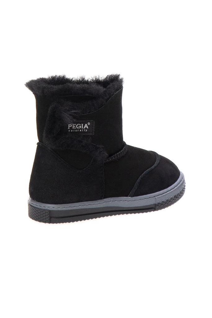 FIGO Sheepskin Boots for Kids - Black, Suede