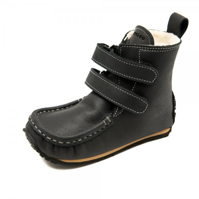 YETI Black with Waterproof leather, Sheepskin Lining, Double-Layer Sole, Barefoot
