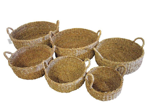 Basket Round set of 3 Small White/Natural/Teal