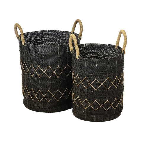 Round Cylinder Basket Set of 6 With Top Handles