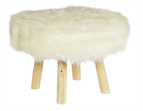 Polar Fur Stool White Large