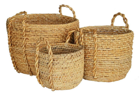 Crochet Baskets with Leather Handle