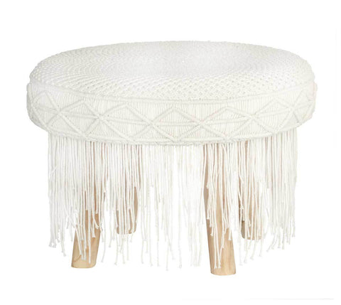 Macrame Stool Round Tassel Natural Small