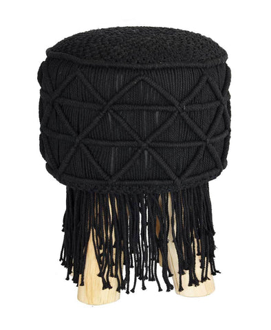 Macrame Stool Round Tassel Black Small - Esque