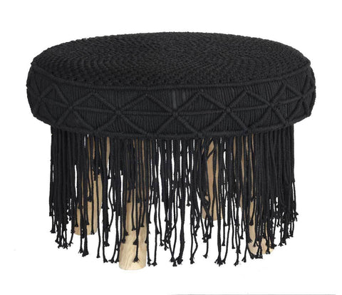Macrame Stool Round Tassel Black Large - Esque