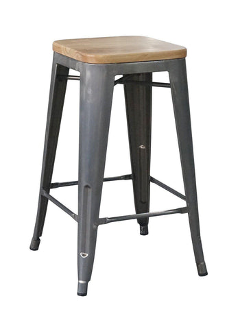 Tolix Kitchen Stool with Timber Seat