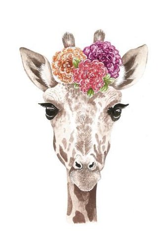 Giraffe with Flower Crown Art Print - Esque