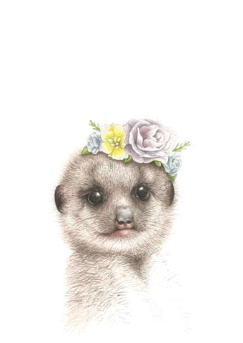 Meerkat with Flower Crown Art Print - Esque