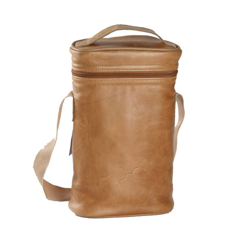 Wine cooler double carry bag leather - Esque