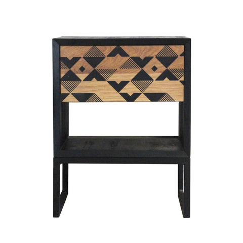 Black Oak Geometric Side Table