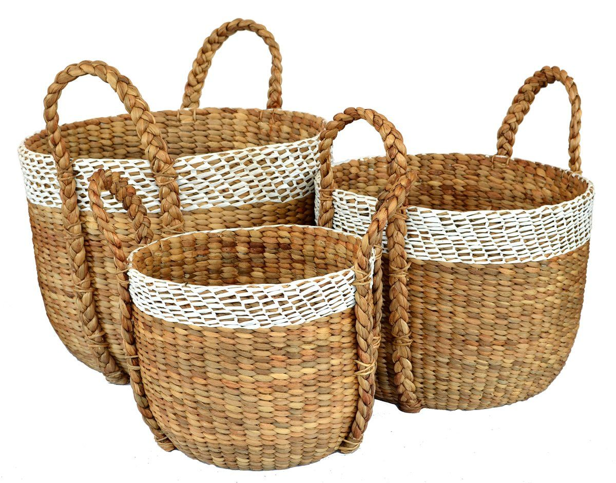 TWO TONE BASKET SET OF 3