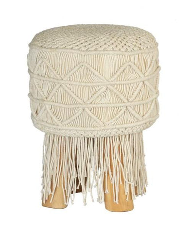 Macrame Stool Round Tassel Black Small