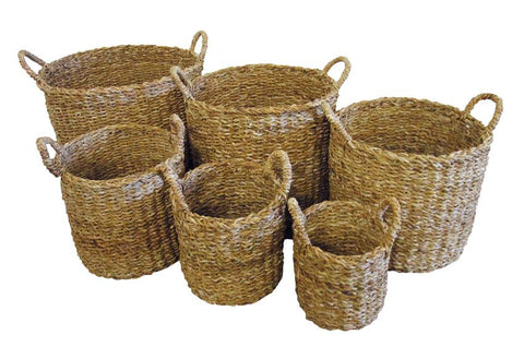 Rectangular Kitchen Basket Set of 6 With Top Handles