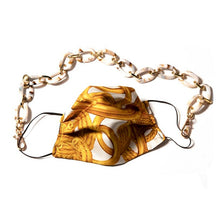 Load image into Gallery viewer, Authentic CHANEL Vintage Ivory Rope & Medallion Silk Scarf Face Mask exclusively at VintageLuxeUp.com