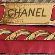 Load image into Gallery viewer, Authentic CHANEL Vintage Chain Logo Upcycled Silk Scarf Face Mask PPE Protective exclusively at VintageLuxeUp.com