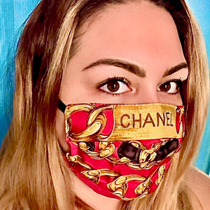 Authentic CHANEL Vintage Chain Logo Upcycled Silk Scarf Face Mask PPE Protective exclusively at VintageLuxeUp.com
