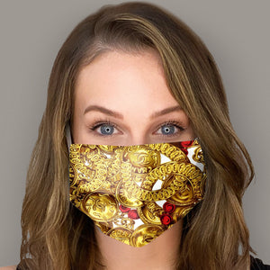 Authentic CHANEL Vintage Gold Medallion Scarf Face Mask exclusively at VintageLuxeUp.com