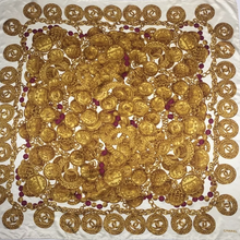 Load image into Gallery viewer, Authentic CHANEL Vintage Gold Medallion Scarf Face Mask exclusively at VintageLuxeUp.com