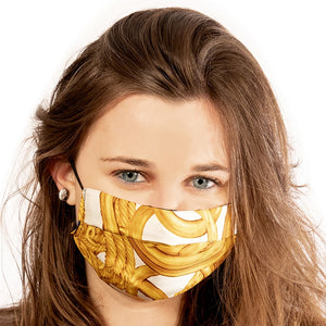 Authentic CHANEL Vintage Ivory Rope & Medallion Silk Scarf Face Mask exclusively at VintageLuxeUp.com