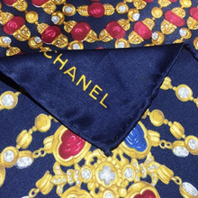 Load image into Gallery viewer, Authentic CHANEL Vintage Navy Jewels Silk Scarf Face Mask exclusively at VintageLuxeUp.com