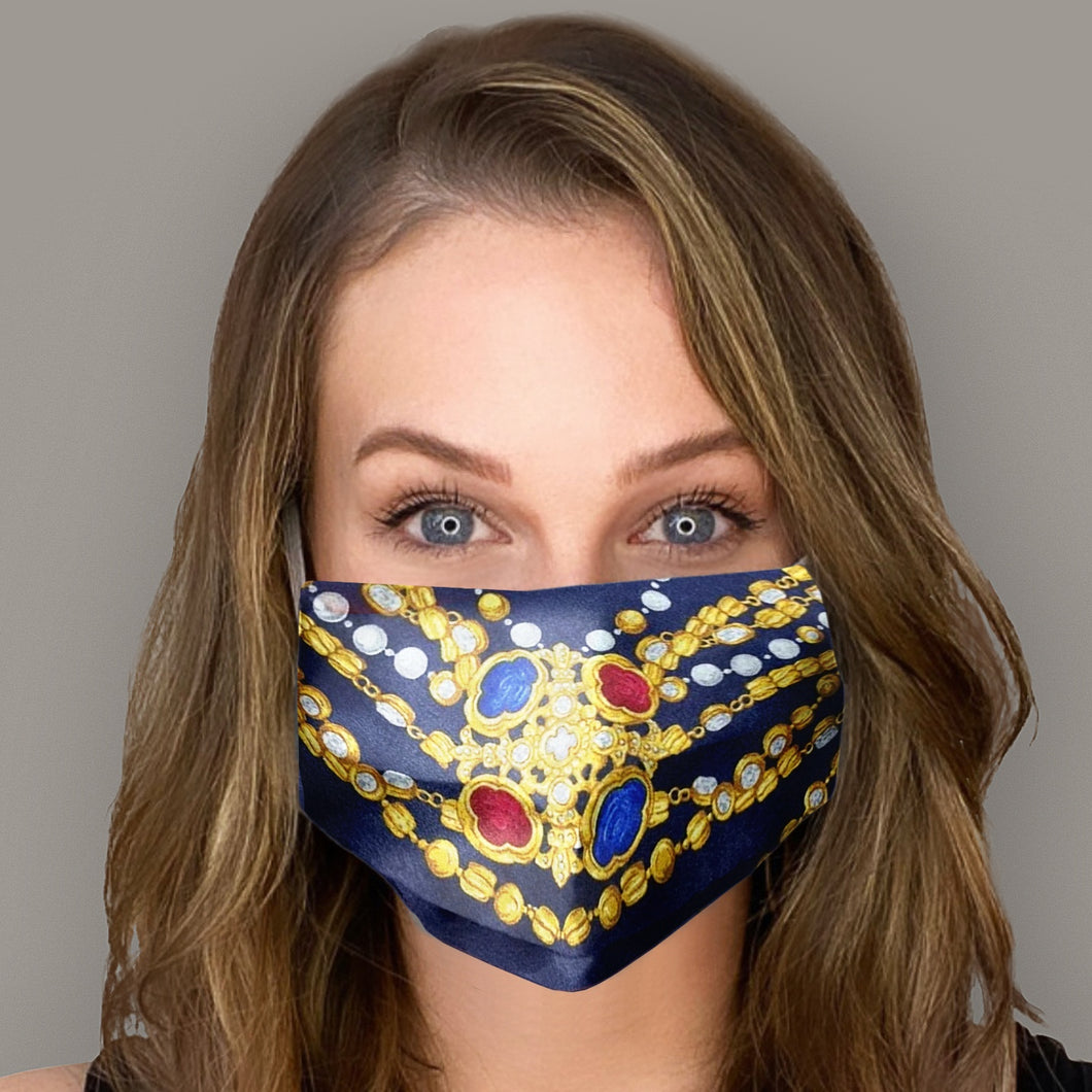 Authentic CHANEL Vintage Navy Jewels Silk Scarf Face Mask exclusively at VintageLuxeUp.com