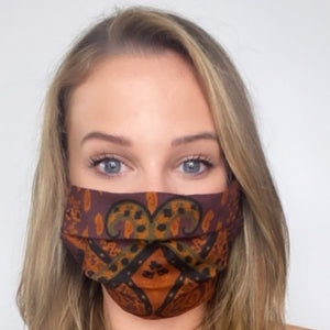 Authentic ETRO Vintage Orange Paisley Featherweight Wool/Silk Scarf Face Mask exclusively at VintageLuxeUp.com