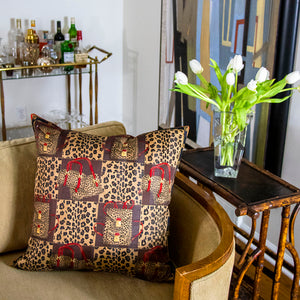 "Authentic FENDI Vintage Leopard Camouflage Pillow Cover 22"" exclusively at VintageLuxeUp.com"