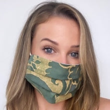 Load image into Gallery viewer, FORTUNY Farnese Blue Green & Silvery Gold Printed Cotton Face Mask exclusively at VintageLuxeUp.com