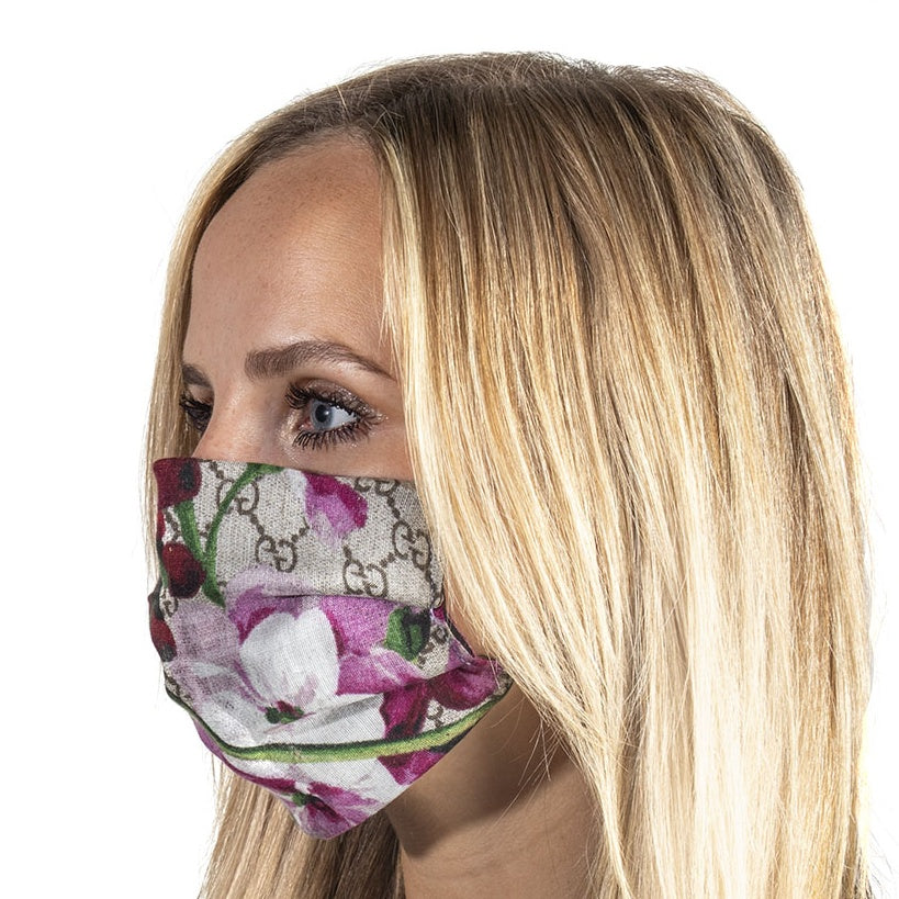 Authentic GUCCI Vintage GG Logo Blooms Pink Hydrangea Face Mask exclusively at VintageLuxeUp.com