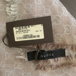 GUCCI Vintage GG Logo Cotton Scarf Face Mask with Logo Ribbon Trim exclusively at VintageLuxeUp.com