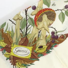Vintage Gucci Silk Mushroom & Insect Scarf Upcycled Face Mask exclusively at www.vintageluxeup.com
