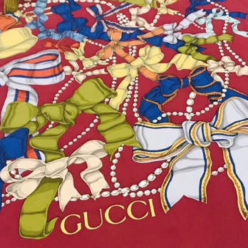 Authentic GUCCI Vintage Ribbons & Pearls Red Silk Scarf Face Mask exclusively at VintageLuxeUp.com