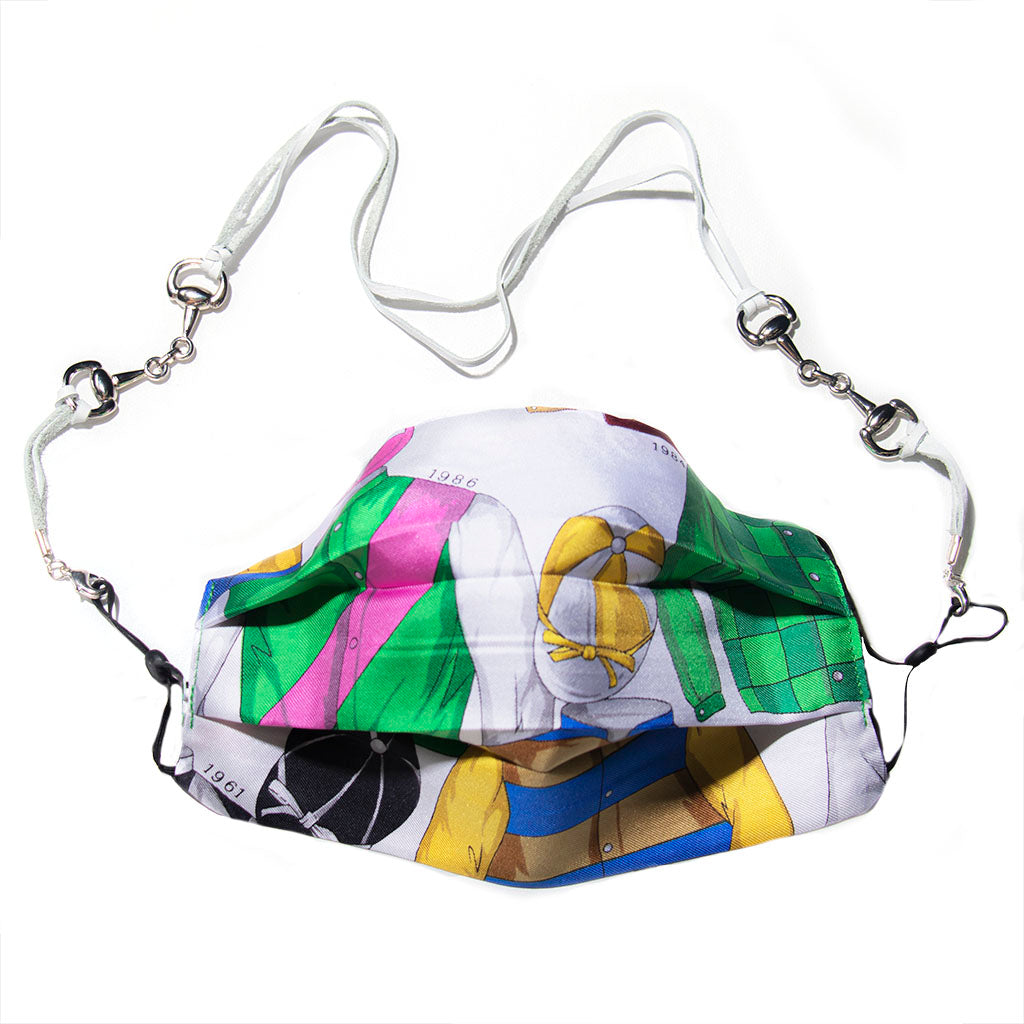 Authentic GUCCI Vintage Royal Ascot Silk Scarf Face Mask exclusively at VintageLuxeUp.com