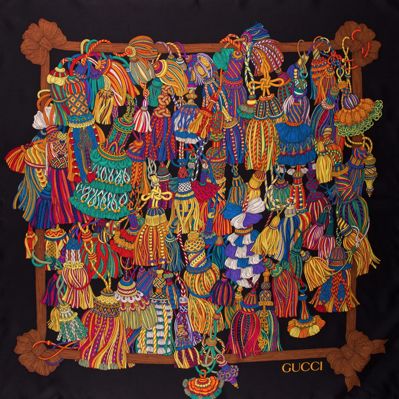 Authentic GUCCI Vintage Tassels Silk Scarf Face Mask exclusively at VintageLuxeUp.com