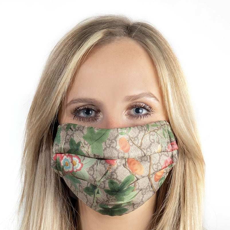 Authentic GUCCI Vintage Tian Chinoiserie GG Logo Silk Scarf Face Mask exclusively at VintageLuxeUp.com