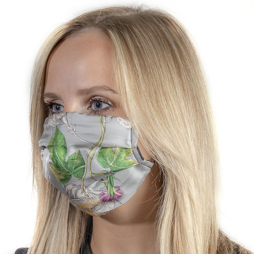 Authentic GUCCI Vintage Wonder Gardenia Light Gray Silk Scarf Mask exclusively at VintageLuxeUp.com