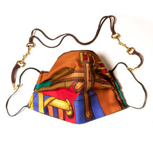 Load image into Gallery viewer, Authentic HERMES Vintage Sangles Burgundy Scarf Face Mask exclusively at VintageLuxeUp.com