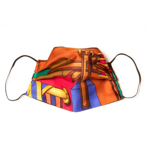 Authentic HERMES Vintage Sales Burgundy Scarf Face Mask exclusively at VintageLuxeUp.com