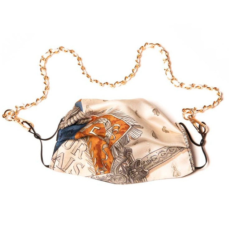 Authentic HERMES Vintage Napoleon Silk Scarf Face Mask exclusively at VintageLuxeUp.com