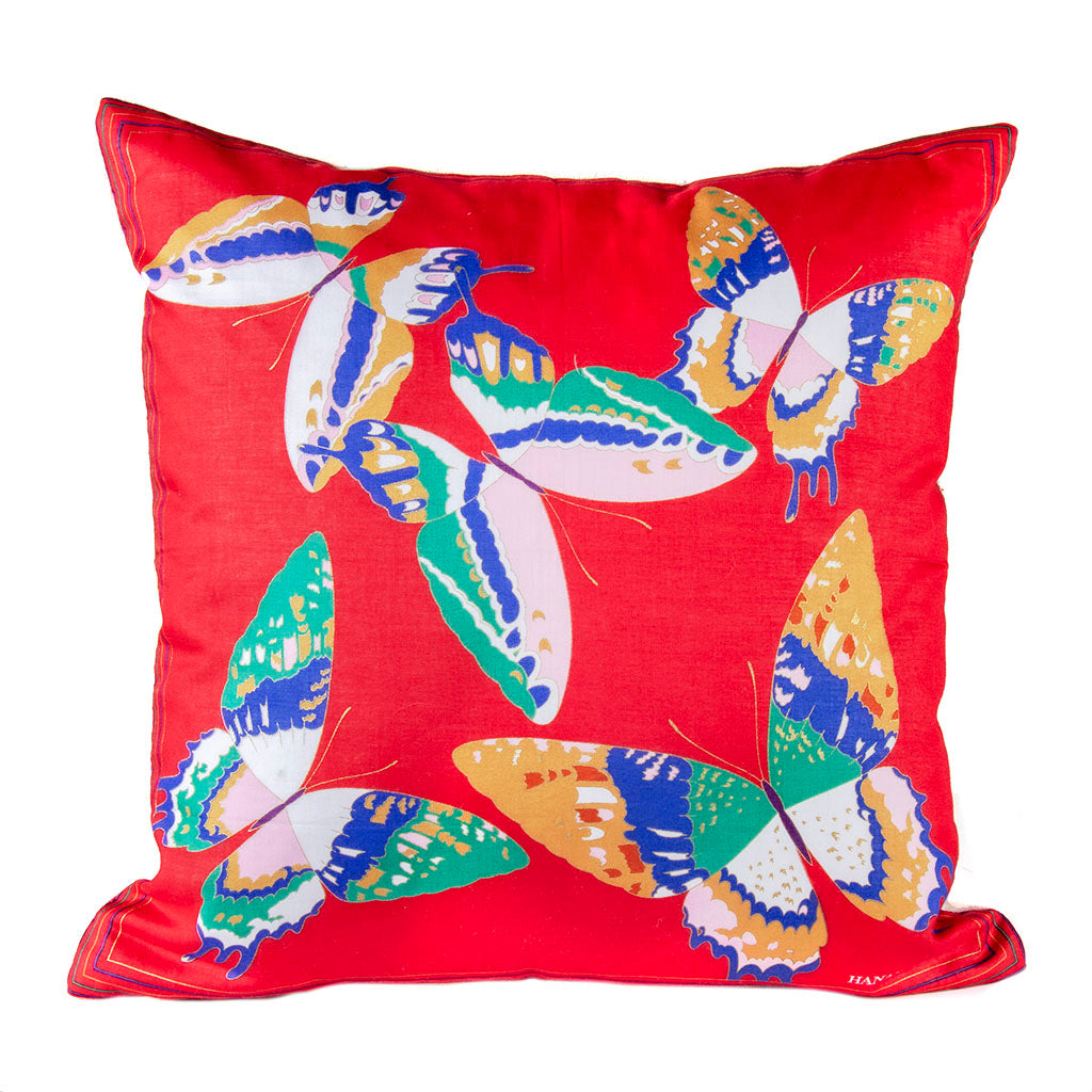 "Authentic HANAE MORI Butterfly Pillow Cover 17"" exclusively at VintageLuxeUp.com"
