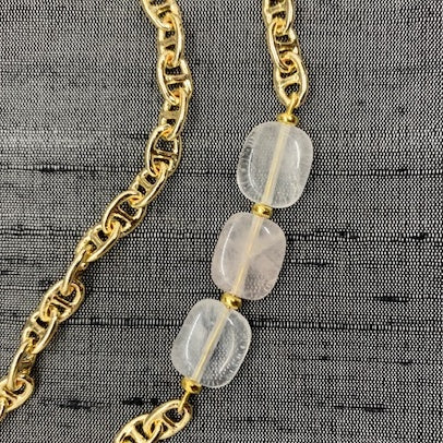 Healing Links™ Rose Quartz Mask Chain exclusively at VintageLuxeUp.com