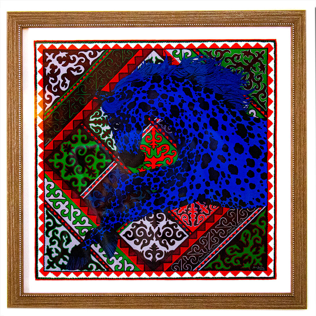 HERMÈS Authentic Vintage Appaloosa des Steppes Silk Pocket Square Framed Art Pocket Square Framed Art exclusively at VintageLuxeUp.com