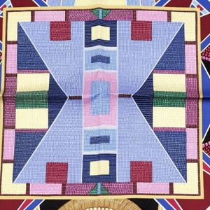 Authentic HERMÈS Vintage L'Art Indien des Plaines Black Silk Scarf Face Mask exclusively at VintageLuxeUp.com