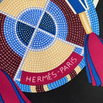 Load image into Gallery viewer, Authentic HERMÈS Vintage L'Art Indien des Plaines Black Silk Scarf Face Mask exclusively at VintageLuxeUp.com