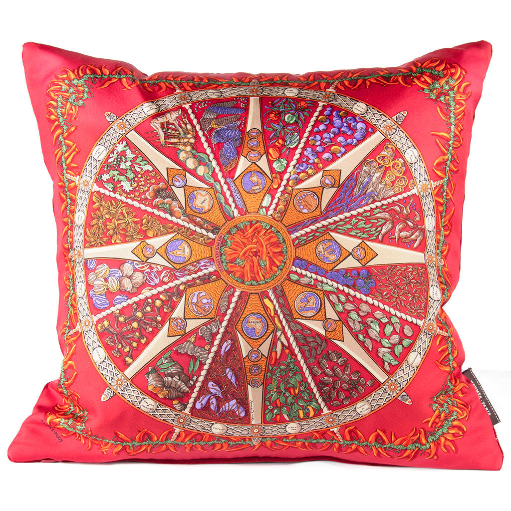 "Authentic HERMÈS Vintage Aux Pays des Epices Pillow Cover 17"" exclusively at VintageLuxeUp.com"